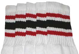 Red & Black striped tube socks