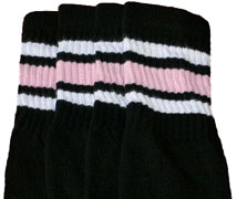 White & Baby Pink striped Black tube socks