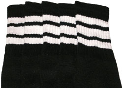White striped Black tube socks