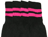 Hot Pink striped Black tube socks