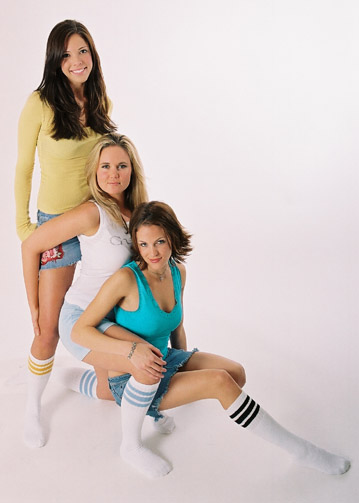 girls in Striped tube socks picture
